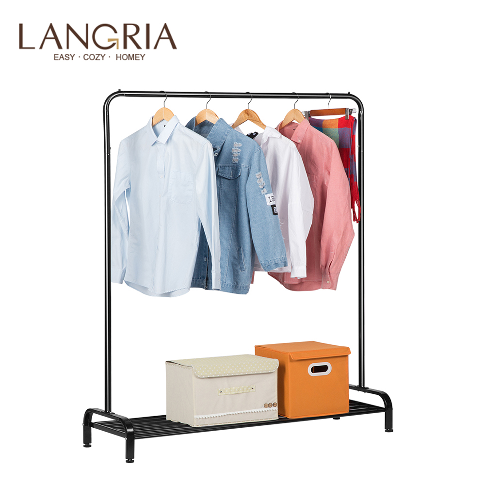 LANGRIA Simple All Metal Free Standing Commercial Grade Clothing Garment Rack with Top Rod and Lower