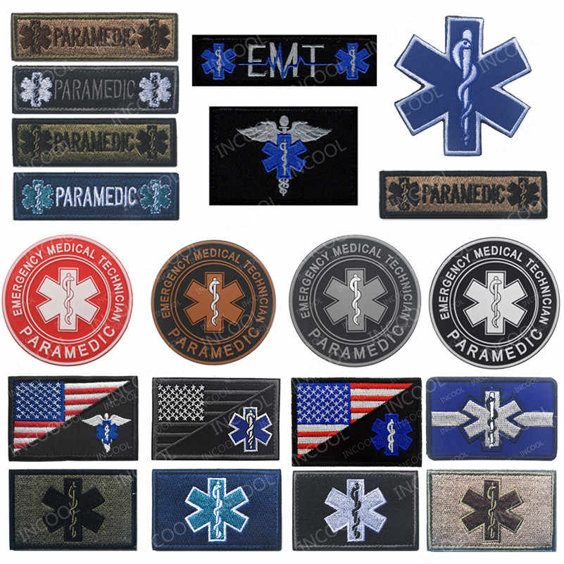Bintang Kehidupan Bordir Patch EMT USA FLAG Paramedis Medis Medis Cross Bantuan Militer Moral Patch Emblem Bordir Lencana