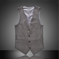 6XL 5XL Dress Vests For Men Slim Fit England style tuxedo vest Male Waistcoat Formal Business Sleeveless Jacket gray black red