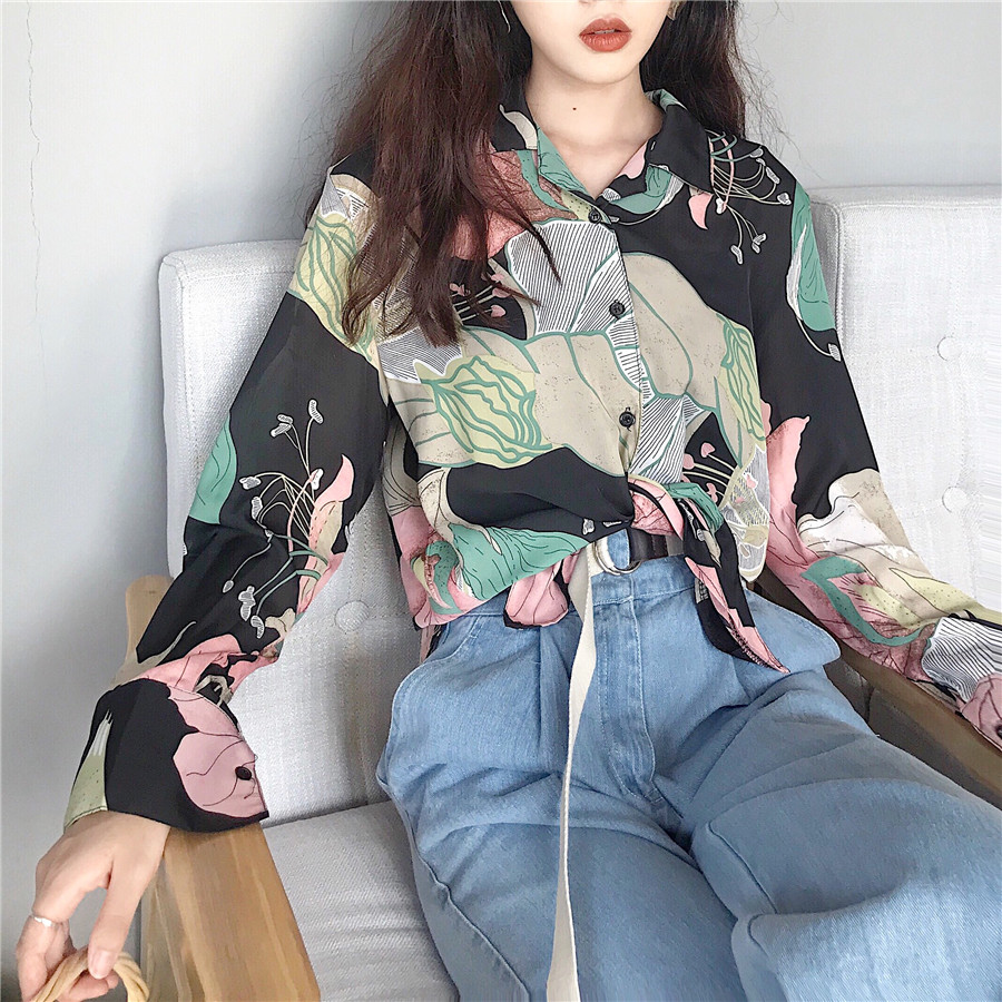 6a486c603b52d Vintage Women Shirts Floral Loose Full Sleeve Print Small Basic Is  Prevented Bask In Clothes Blouse Shirt Black Ga Color 707-in Blouses    Shirts from ...