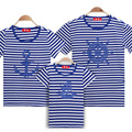 Семья соответствующие рубашки 2015 летний стиль мода мультипликационный персонаж с коротким футболки новый семья посмотрите хлопок полосатые рубашки два цвета