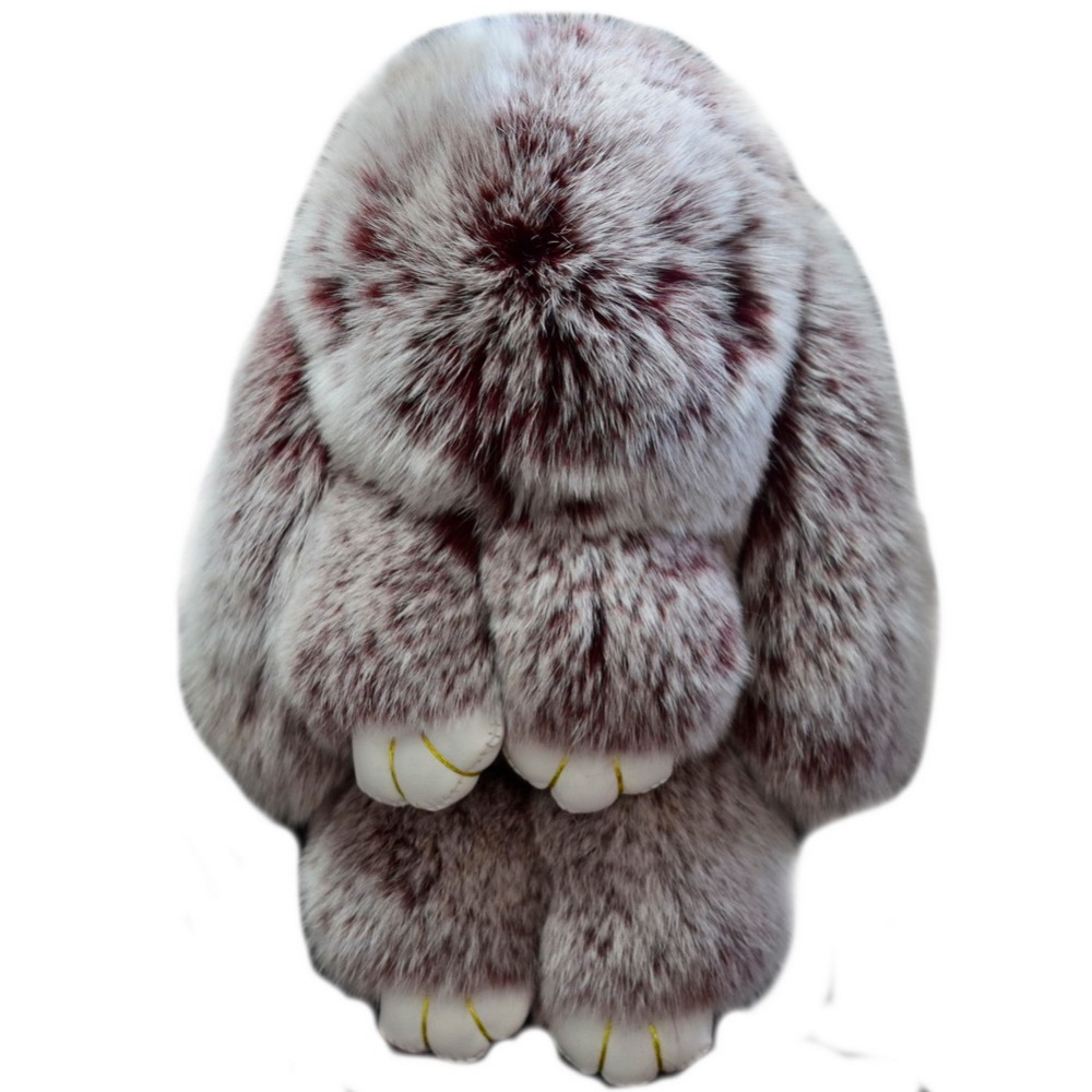 18cm Rabbit Hare Bunny Keychain Real Rex Animal Fulffy Fur Key Chain Women Cute Bag Charms Monster Car Pendant With Gift Wrap