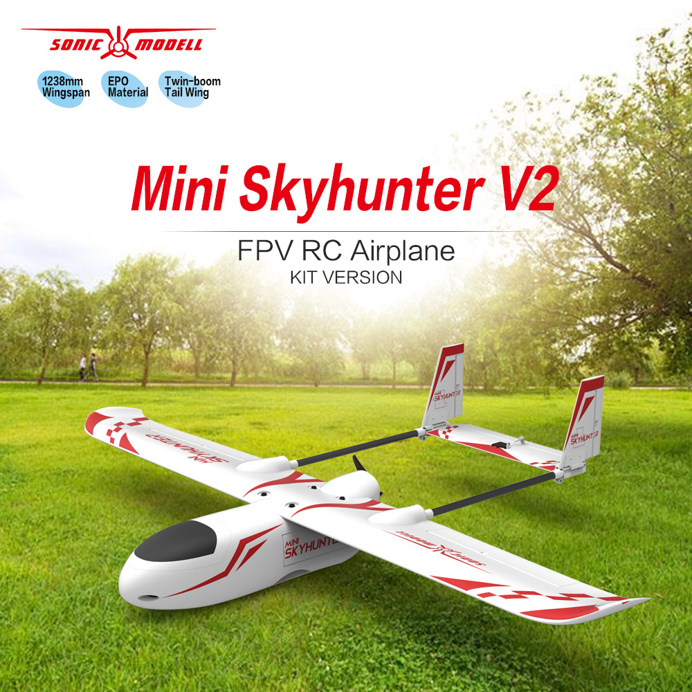 Sonicmodell Mini Skyhunter V2 1238mm Wingspan FPV EPO Airplane RC Aircraft KIT Indoor Toys for Boys цены