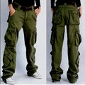 New Brand Winter Womens Military Loose Cargo Pocket Pants Casual Mid Rise Trousers Plus Size Casual Pants Army Green 36