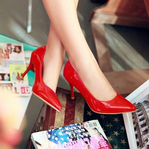 Image 5 - ALLBITEFO plus size:33 44 pu leather pointed toe women high heel shoes fashion high heels office ladies spring women shoes