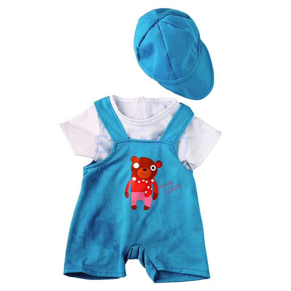 Cute Bear Blue Shoulder Strap Pants + T-shirt + Hat Clothes Outfit for 18inch American Girl Doll / 43-45 cm Zapf Baby Born Dolls