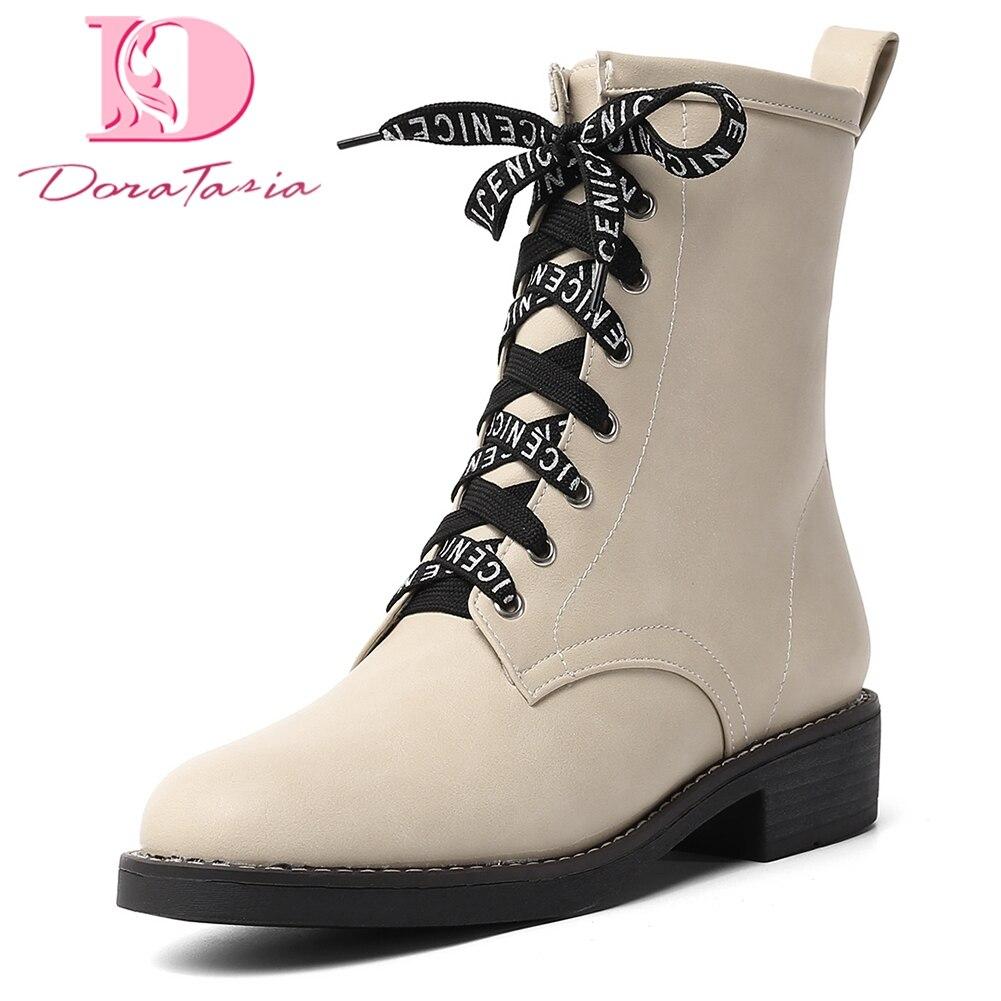 Doratasia 2019 grande taille 34-43 talons Chunky lacets bottines femmes chaussures femme ajouter de la fourrure automne hiver chaussures femme