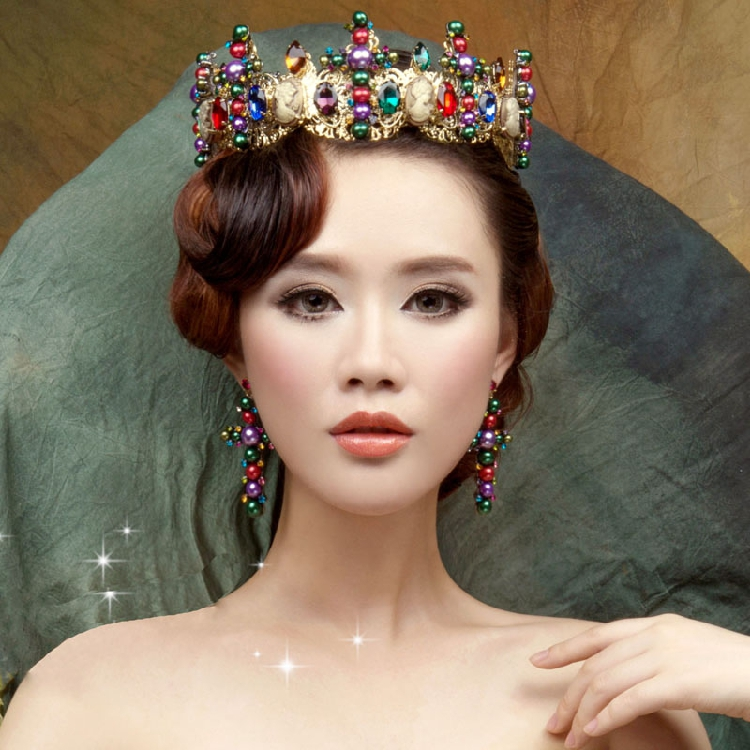 European Royal Crown Colorful Rhinestone Imitation Tiara Super Large Crown Wedding Hair Accessories Crown crown crown xti6002
