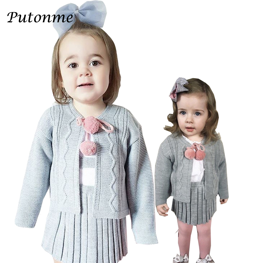 England style baby clothing set sukienka dla dziewczynki Cardigan kids girls knit coat pleated skirt toddler baby girls clothes