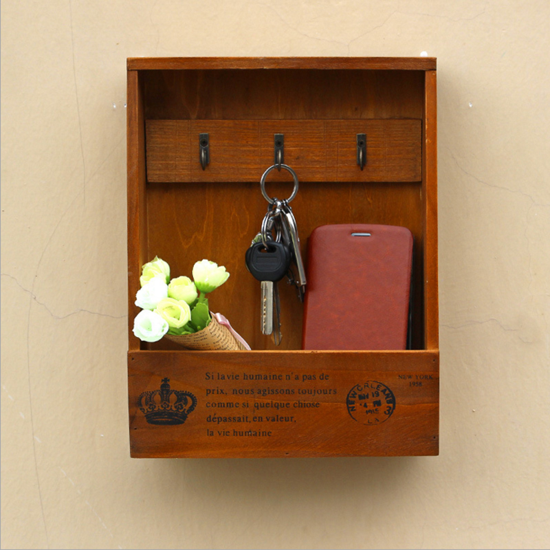 1pc Keys Sundries Box Storage Wood Box Key Hanging Hooks