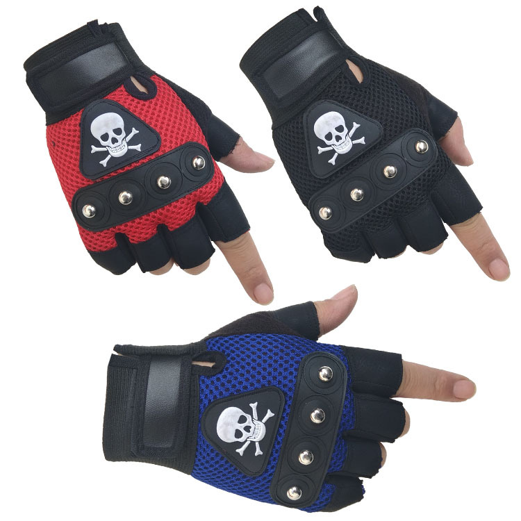 Sons Of Anarchy PU Leather Non-Slip Half Finger Gloves Skull Punk Gloves Black Harley Motorcycle Rivet Breathable Bike Gloves