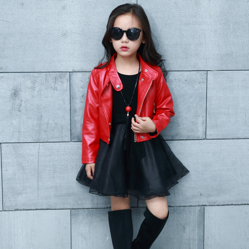 Spring Fashion Kids Leather Jacket Girls PU Jacket Children Leather Outwear For Personality Baby Girl Jackets And Coats 3~14 T недорого