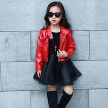 Spring Fashion Kids Leather Jacket Girls PU Jacket Children Leather Outwear For Personality Baby Girl Jackets And Coats 3~14 T hot sale 2017 baby girls leather jacket autumn child toddler girl heart shape back pu jackets coat fashion designer outwear