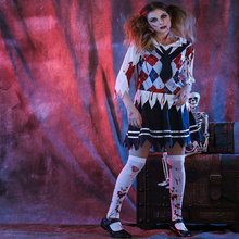 Free shipping adult Zombie student Costume Halloween Cosplay HORROR ZOMBIE ghost costume masquerade role-playing skirt suit