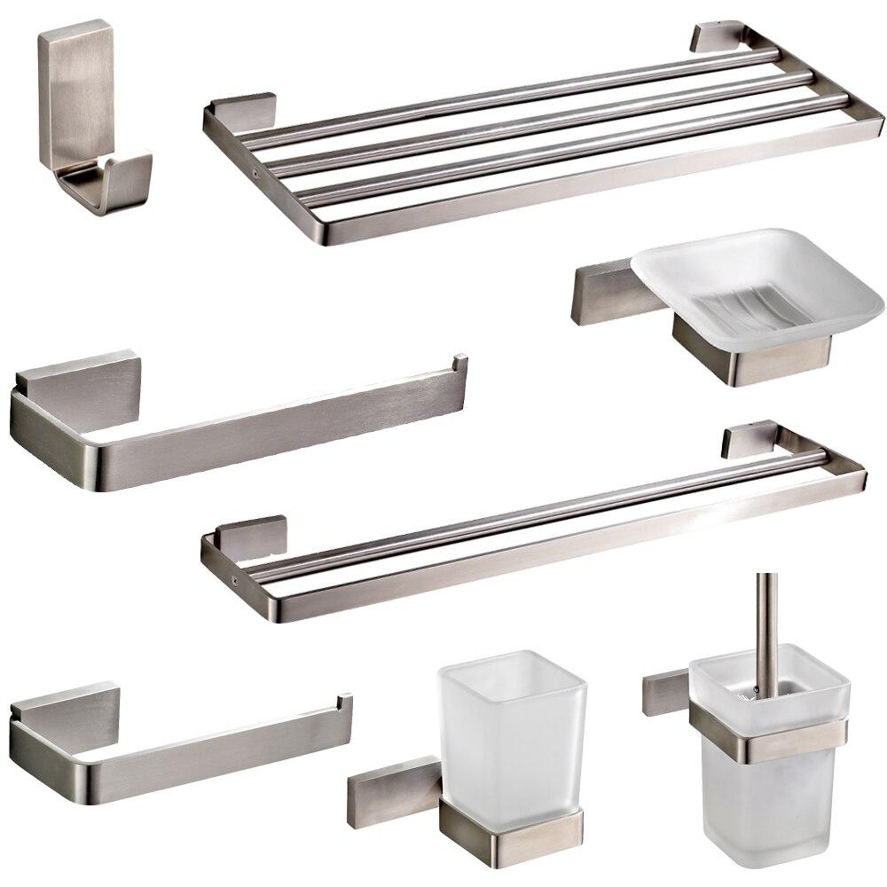 Leyden Brushed Stainless Steel Bathroom Hardware Set Silver Toilet - Brushed stainless steel bathroom accessories