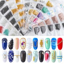 6 Grid/Pack Flat Chain Japanese Korea Colorful Metal Nails Chain Caviar Steel Bead 3d Nail Art Decorations Nail Jewelry DIY festive christmas ornament hearts shape bead chain 260cm 2 chain pack