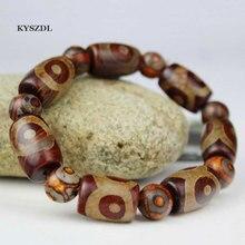 KYSZDL Natural Tibetan old MaNao Buddha beads bracelet Mens national wind three eye Ma nao Dzi hand jewelry gifts