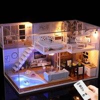 Diy Dollhouse Mini Casa Miniature Dollhouse Loft House Model Building Kits Christmas Birthday Gift Toys For Children Adults #E