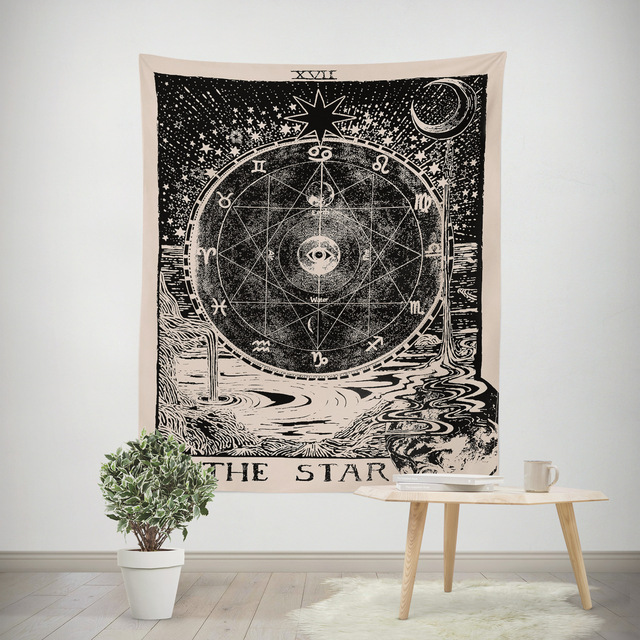 Astrology Divination Wall Hanging Tapestry Yoga Mat Sandy Beach Towels Picnic Blanket Throw Rug Carpets Moon Sun Tablecloth