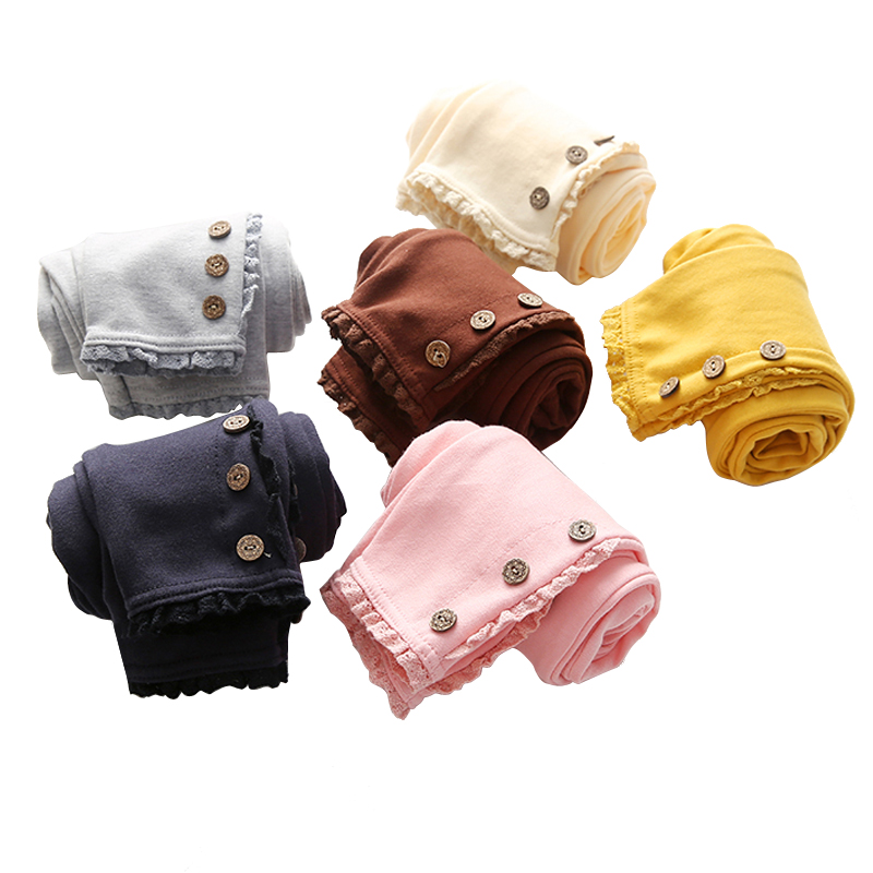 2018 coreano invierno otoño niñas niños Color puro 3 botones Legging ropa de los niños pantalones de algodón de encaje pantalones de baile