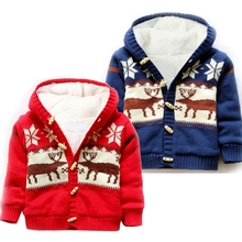 Baby Boys Girls Christmas Beer Winter Coat Children Outerwear Kids Cotton Thick Velvet Warm Hoodies Jacket Boys Clothing