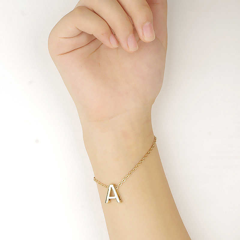 Charming Chain & Link Letter Bracelets 26 English Letters Women Bracelets Trendy Jewelry For Friend Name Gift 15