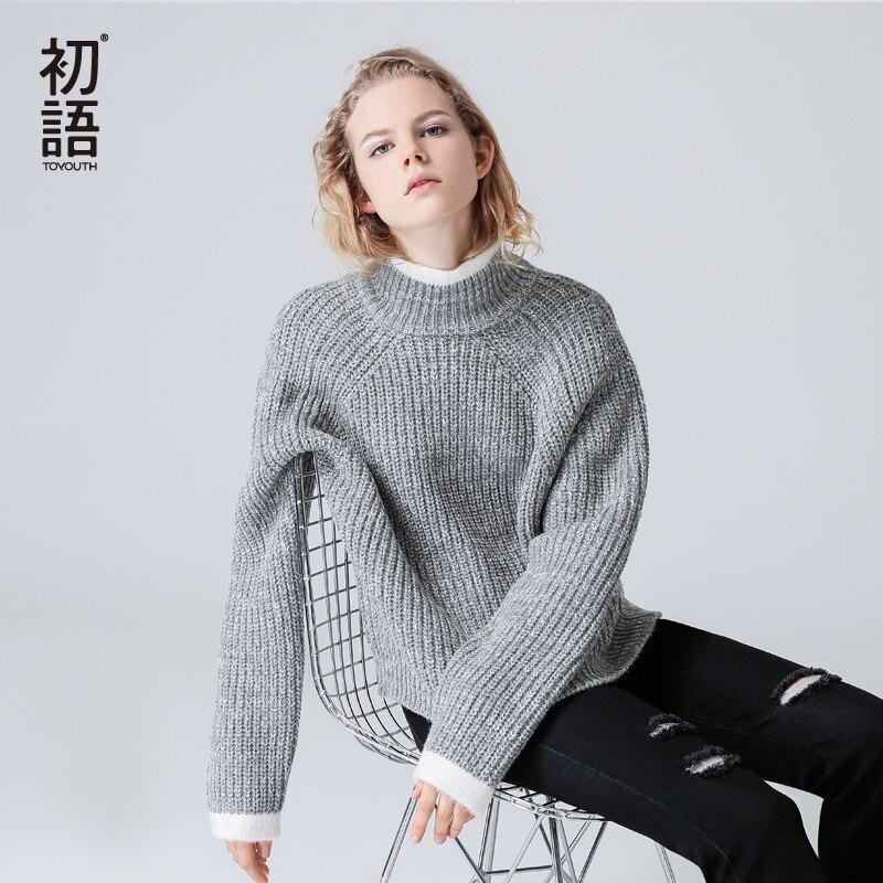 Toyouth Color Block Knit Jumper Automne Hiver Femmes Pull Chandail Gris Stand Col À Manches Longues femmes chandails et pulls