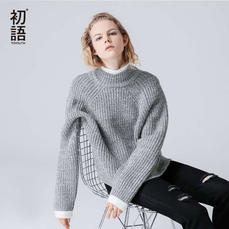 Toyouth Color Block Knit Jumper Autumn Winter Womens Pullover Sweater Grey Stand Collar Long Sleeve women sweaters and pullovers women s sweater pullover 100% genuine goat cashmere women sweaters and pullovers knit round neck long sleeves thick sweaters