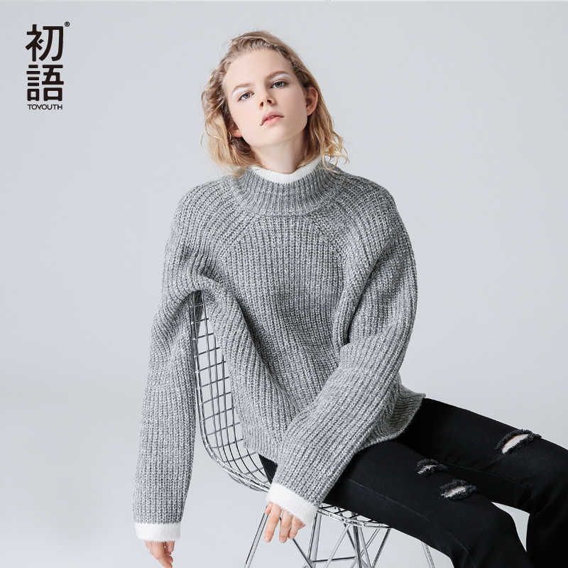 Toyouth 컬러 블록 니트 점퍼 가을 겨울 여성 풀오버 스웨터 그레이 스탠드 칼라 긴 소매 여성 스웨터와 풀오버