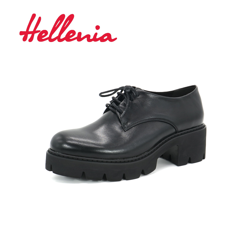 Hellenia New Autumn Casual high Platform Sexy Thick Heels Pumps Black  Light Outsole Leather Lining Rounded Toe Dress Shoes