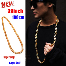 """JFY 2016 Cuban Link Chain 18 K Gold Plated Necklace 8 MM 26""""39"""" Gold Chain For Men High Quality Trendy Hip Hop Bling Jewelry"""