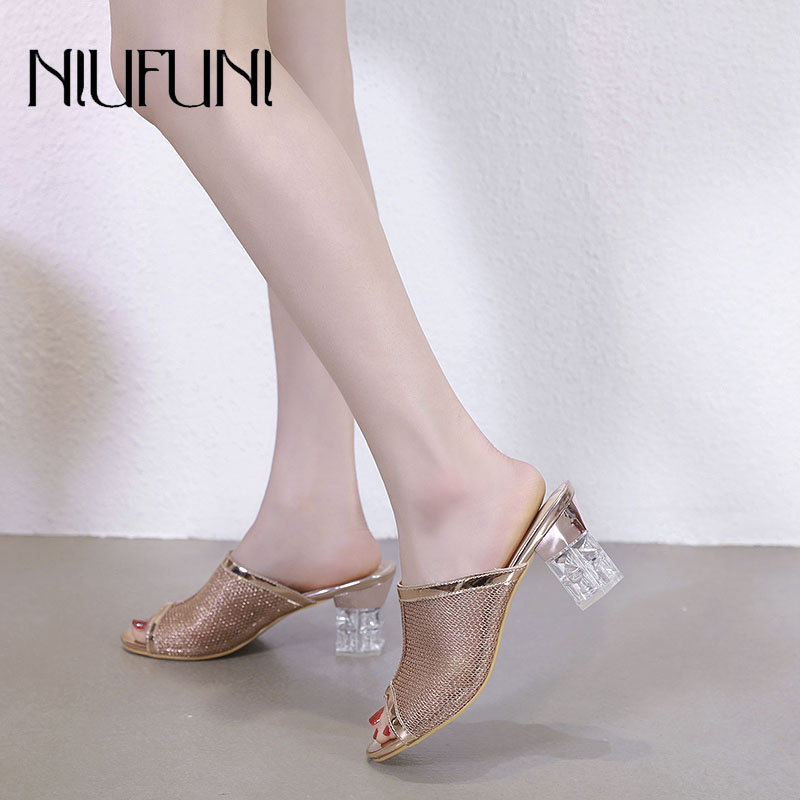 Fashion Transparent crystal Hollow Mesh Womens Slippers 2019 Thick Heel Summer New High Heels Casual Solid Color Ladies Shoes