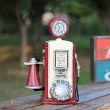 Retro Metal Telephone Figurine Model Creative Ornaments Coffee Shop Statue Photography Decoration Props Vintage Phone Miniature