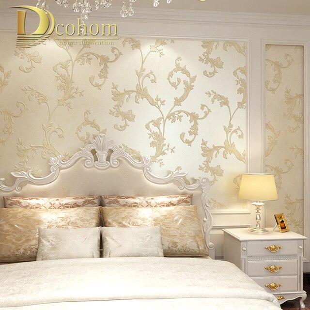 Beige, Braun Europäischen Vintage Blatt Geprägte Tapete 3D Wand Papier  Rollen Schlafzimmer Wohnzimmer Hintergrund Wand