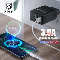 ZNP Quick Charge 3.0 USB Charger 30W QC3.0 QC Turbo Fast Charging Multi Plug Mobile Phone Charger for iPhone X Samsung S8 Xiaomi