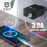 ZNP Charge rapide 3.0 chargeur USB 30W QC3.0 QC Turbo Charge rapide Multi prise chargeur de téléphone portable pour iPhone X Samsung S8 Xiaomi