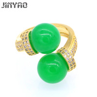 JINYAO Luxury Women Rings Engagement Jewelry Green Stone Zircon Gold Color Rings For Women Wedding Gift