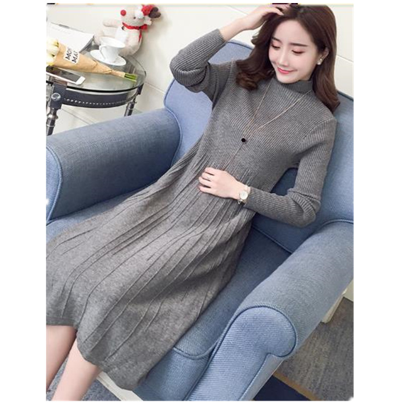New Maternity Clothing 2017 Autumn Winter Long Sweater Dresses For Maternity Women Plus Thick Pregnancy Clothes Hot Sale B0365 2017 new cashmere sweater women clothes 100