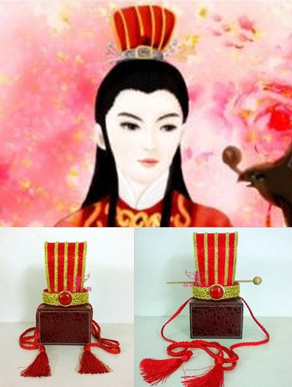 Red Ancient Chinese Wedding Groom's Hair Tiara Male Hat with or without hair stick 03 red gold bride wedding hair tiaras ancient chinese empress hat bride hair piece