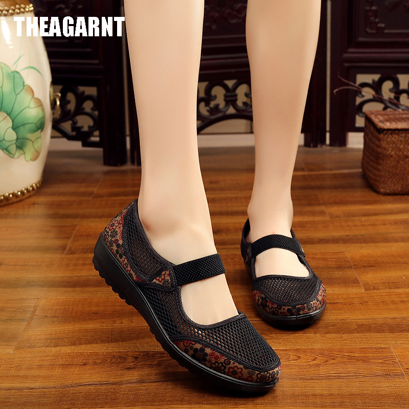 THEAGRANT 2019 National Style Grandma Mom Soft Women Flat Shoes Ethnic Cut Out Mesh Lady Drive Walk Shoes Casual Shoes WFS3008