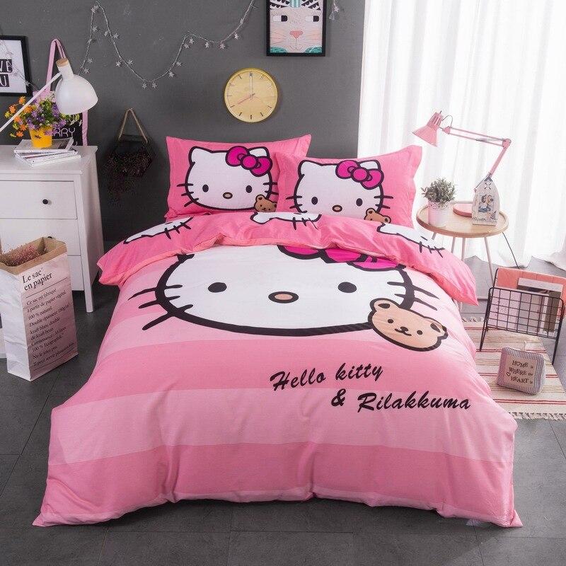 Hello Kitty mignon coton enfants literie ensemble feuille couverture pourpre dessin animé fille KT 4 pièces doux housses de couette et couette Vs rose