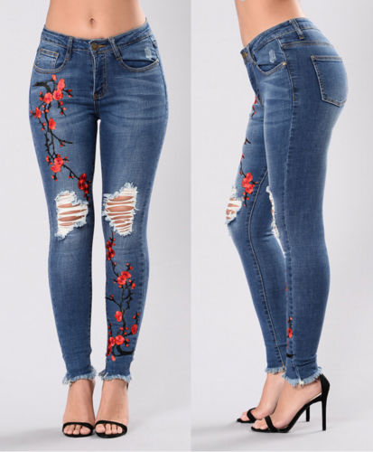 2017 New Blue Embroidery Floral Jeans Woman Ripped Jeans For Women Plus Size Jeans Femme Sexy Pencil Stretch Denim Pants XXXL new female casual sexy rose denim jeans with embroidery ripped vintage pencil jeans for women cuffs long pants plus size 2xl