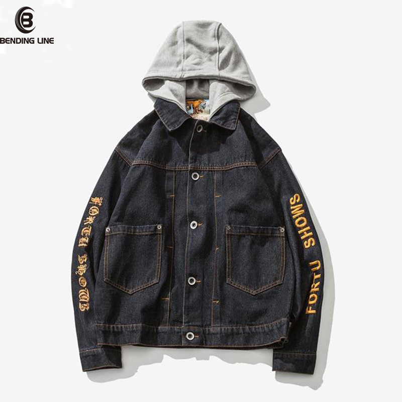 Bending lin Men Jeans Jacket Spring and Autumn Mens Embroidery Hooded Hat Detachable Denim jacket And Coats Men Hip Hop Clothes