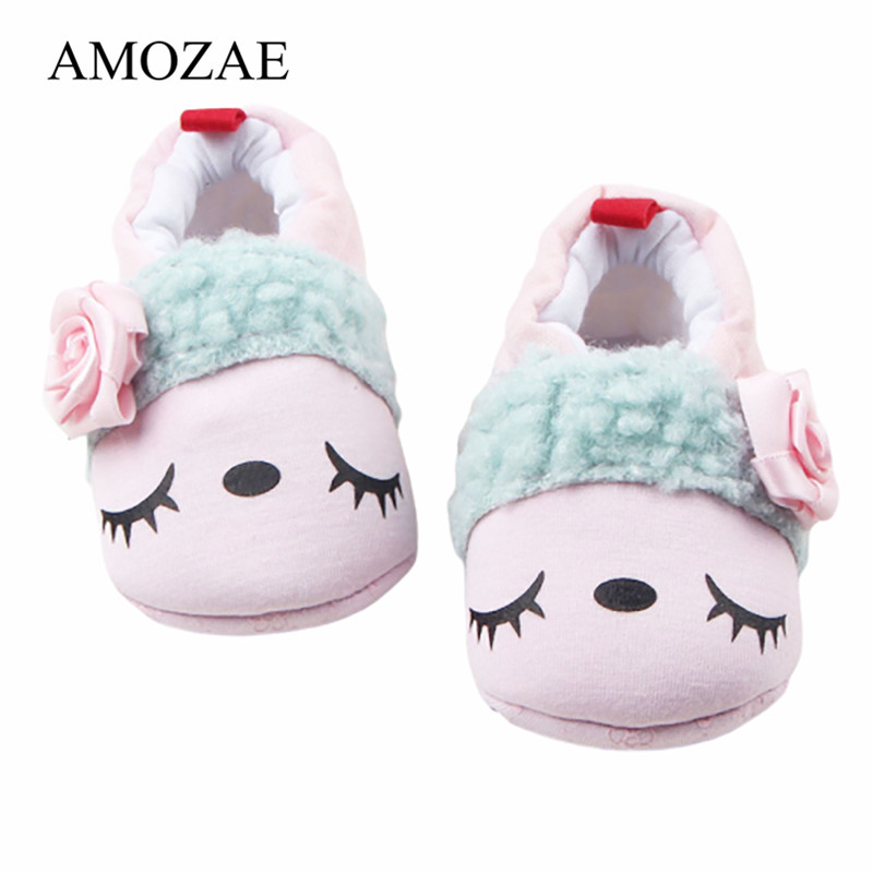 Baby Boys Girls Shoes First Walkers For Newborn Floral Decoration Soft Soled Footwear Shoes Cartoon Infants Toddler Slipper