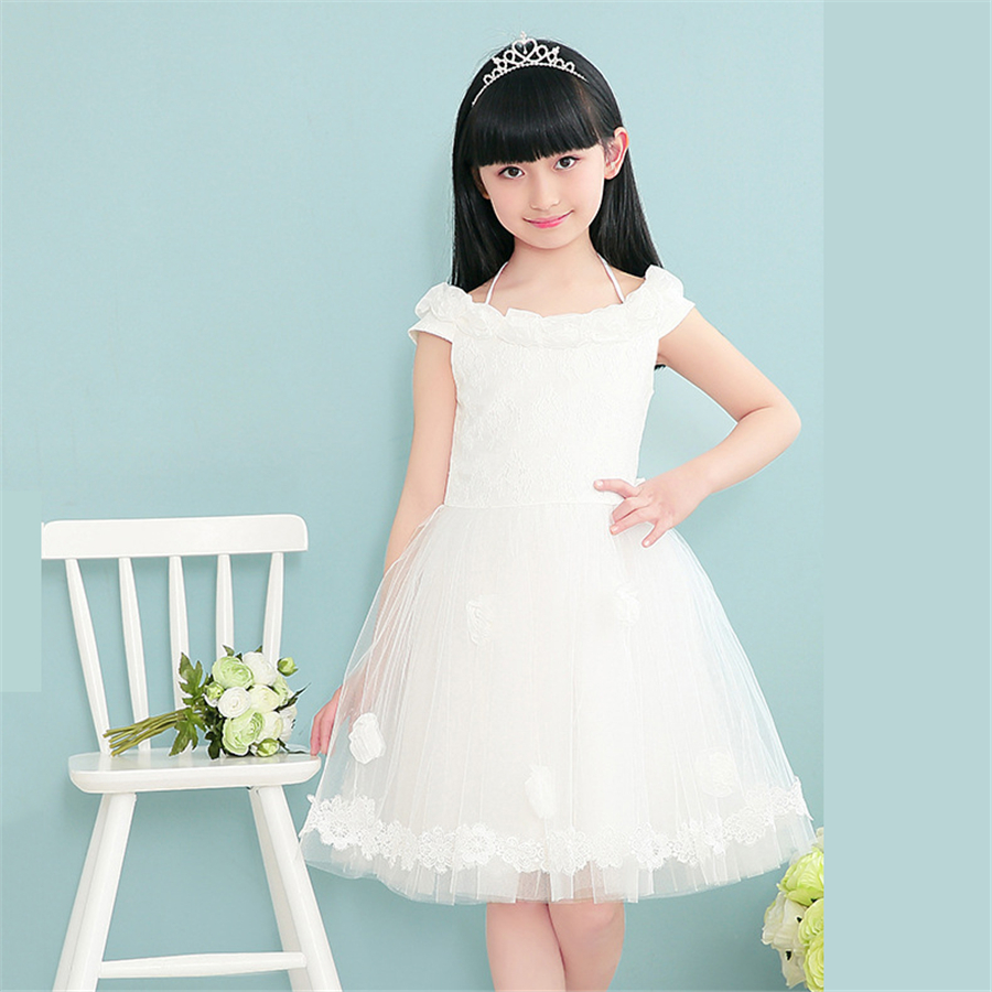 White Lace Flower Girl Dress Pageant Wedding Dress Summer Little ...