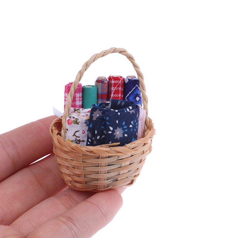 handmade 1:12 Scale 7 different Pieces of Miniature Dollhouse Rattan Baskets
