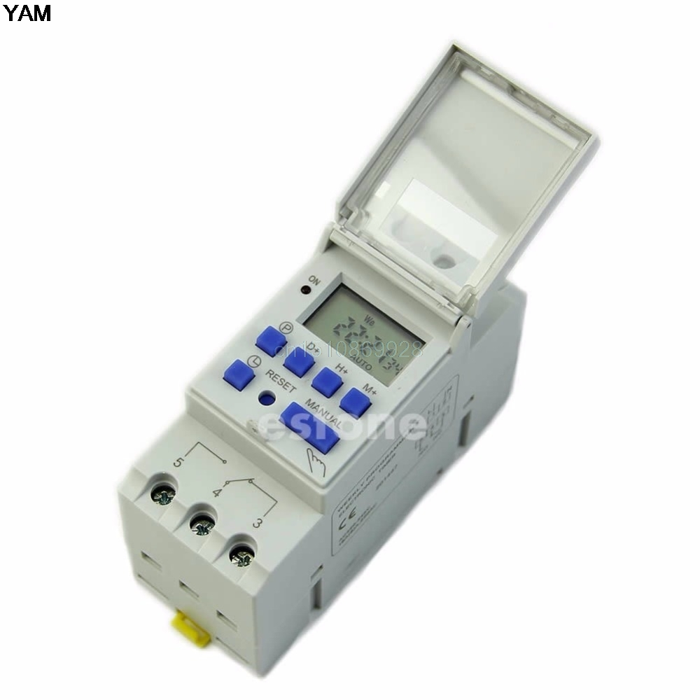 1PC Time Relay Switch DIN Rail Digital LCD Power Programmable Timer AC 220V 16A Time Relay Switch hhs6a correct time countdown intelligence number show time relay bring power failure memory ac220v