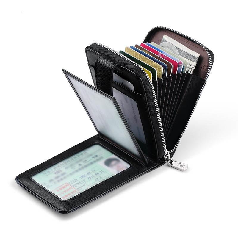 Multicarte homme petit sac carte portefeuille homme fermeture eclair grande capacité permis de conduire cuir pull homme