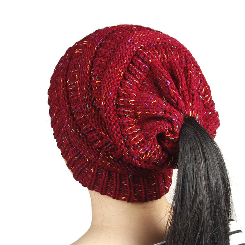 Warm Ponytail Hats For Women Cotton Knitted 2017 Winter Caps Gorros Ladies Baggy Wool Beanies Hat Female Skullies Bonnet Femme