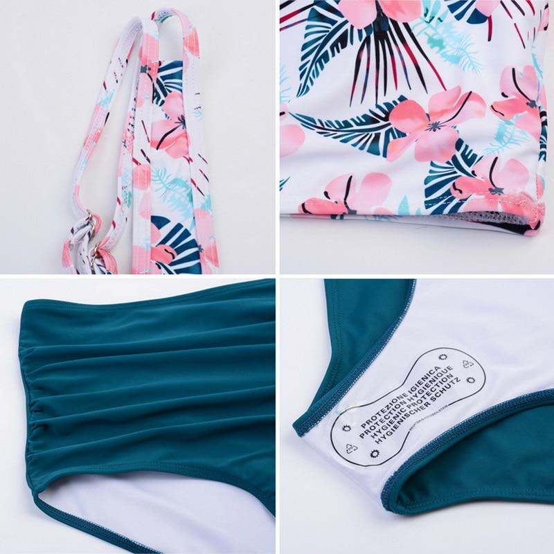 2019 New Sexy Women Bikini Set Mujer Ruffle Floral Printed Swimsuit Push Up High Waist Bikini Biquinis Brazilian Swimwear Summer